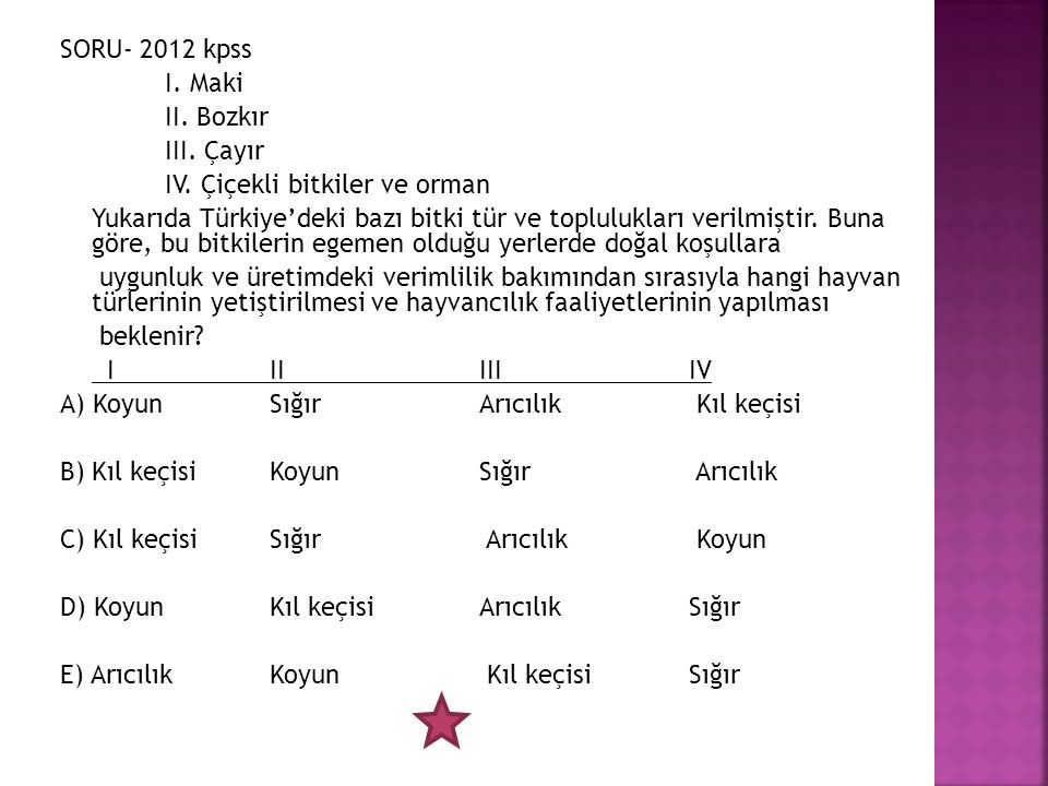 SORU- 2012 kpss I. Maki II. Bozkır III. Çayır IV