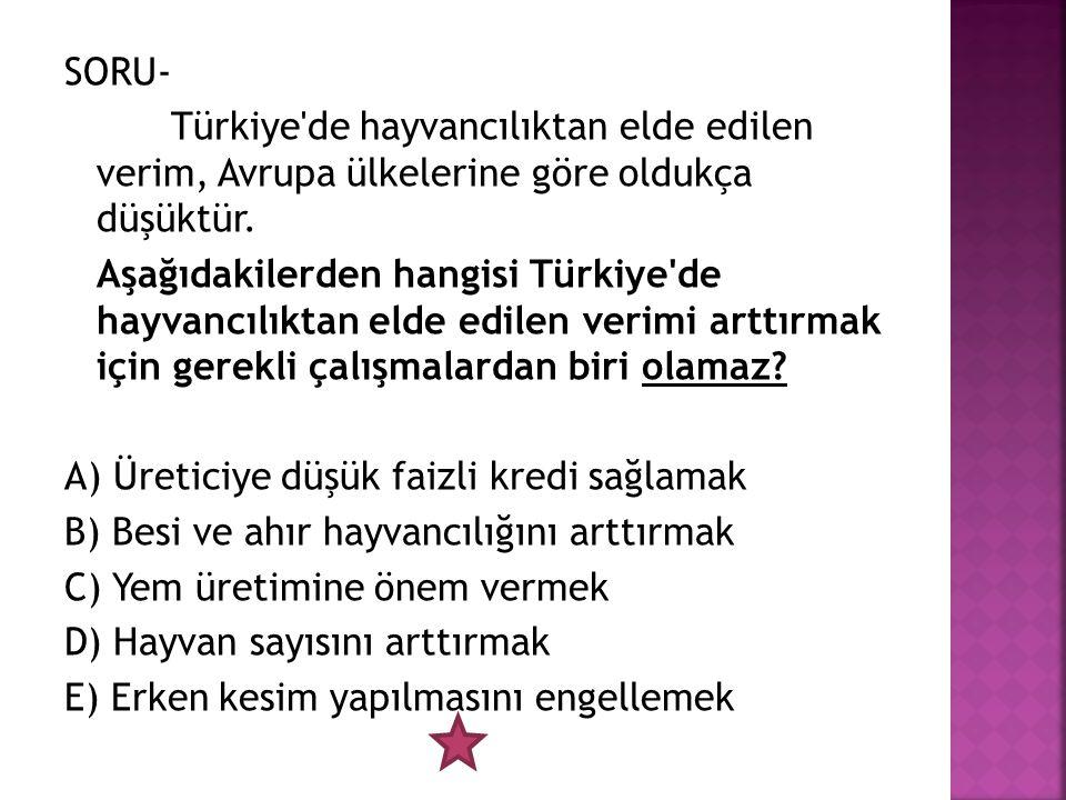 SORU- Türkiye de hayvancılıktan elde edilen verim, Avrupa ülkelerine göre oldukça düşüktür.
