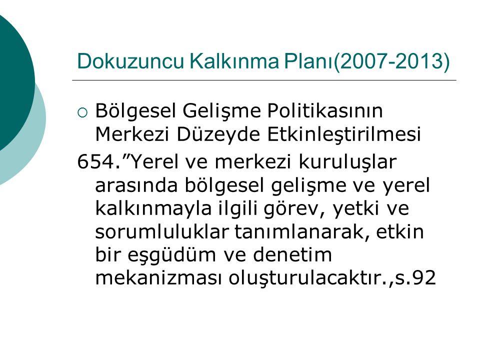 Dokuzuncu Kalkınma Planı(2007-2013)