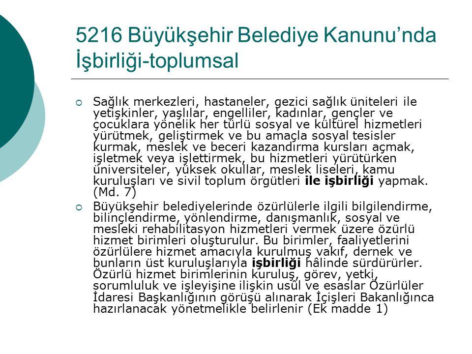 5216 Büyükşehir Belediye Kanunu'nda İşbirliği-toplumsal
