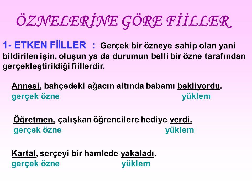 ÖZNELERİNE GÖRE FİİLLER