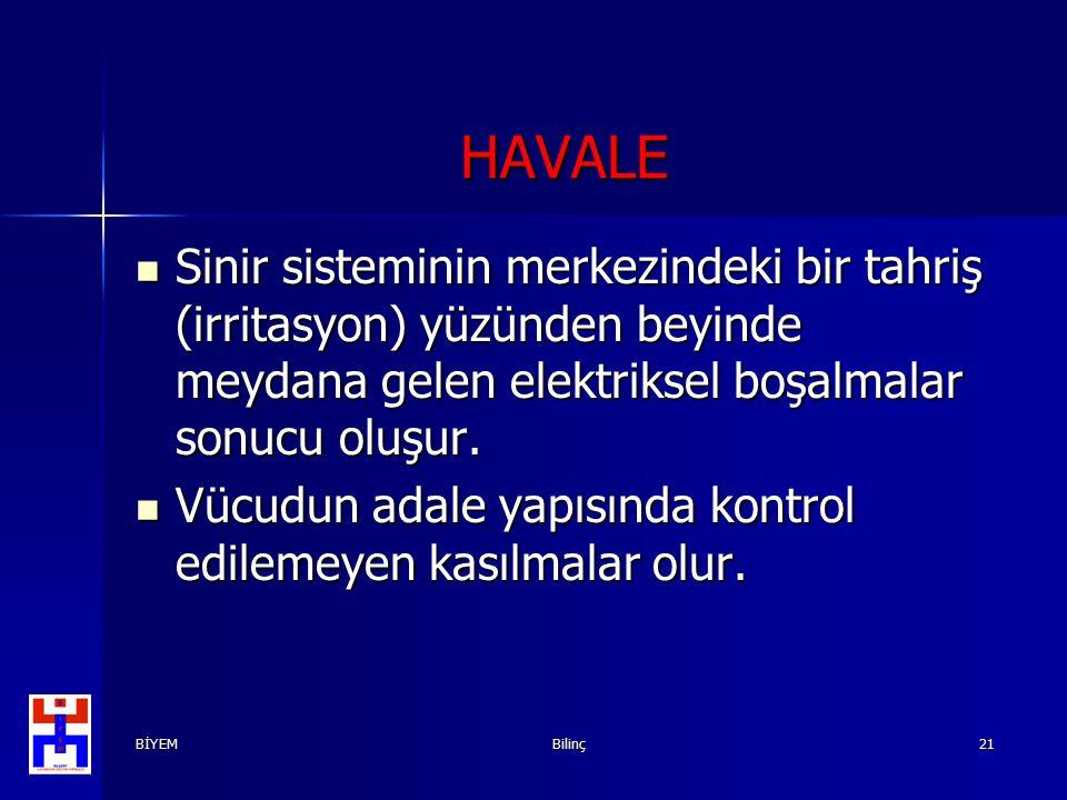 HAVALE Sinir sisteminin merkezindeki bir tahriş (irritasyon) yüzünden beyinde meydana gelen elektriksel boşalmalar sonucu oluşur.
