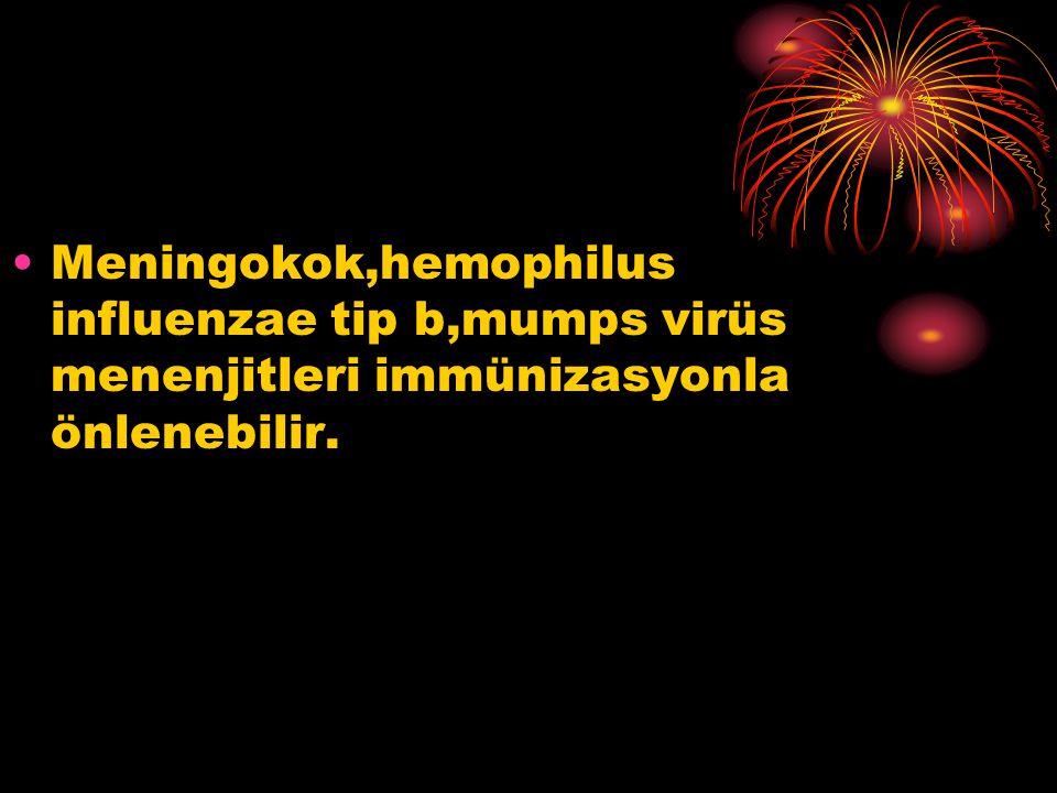 Meningokok,hemophilus influenzae tip b,mumps virüs menenjitleri immünizasyonla önlenebilir.