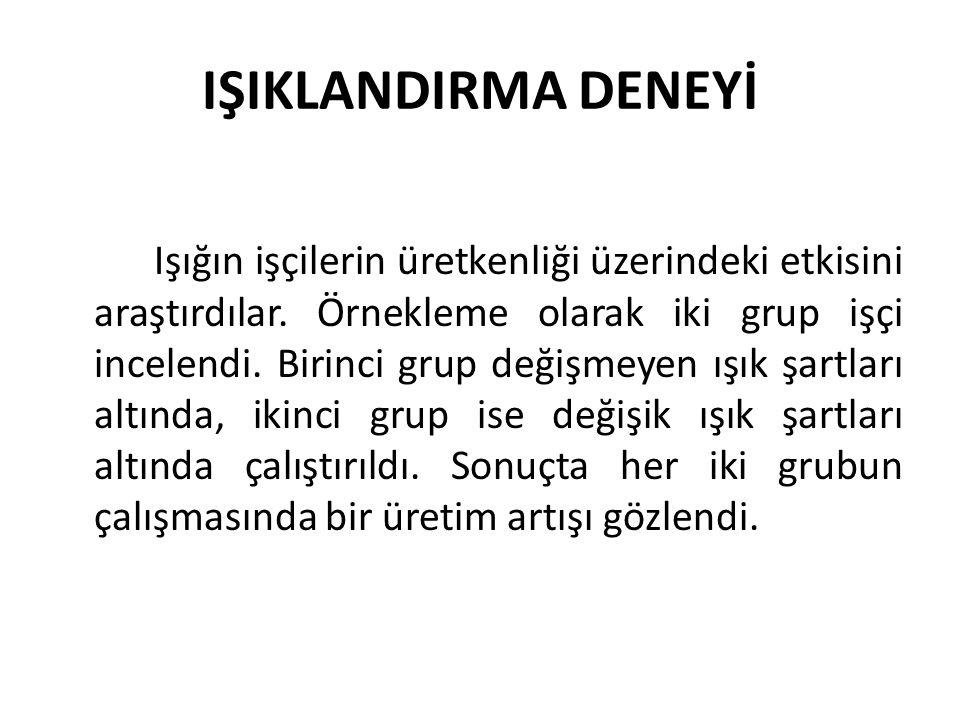 IŞIKLANDIRMA DENEYİ