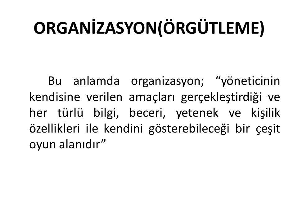 ORGANİZASYON(ÖRGÜTLEME)