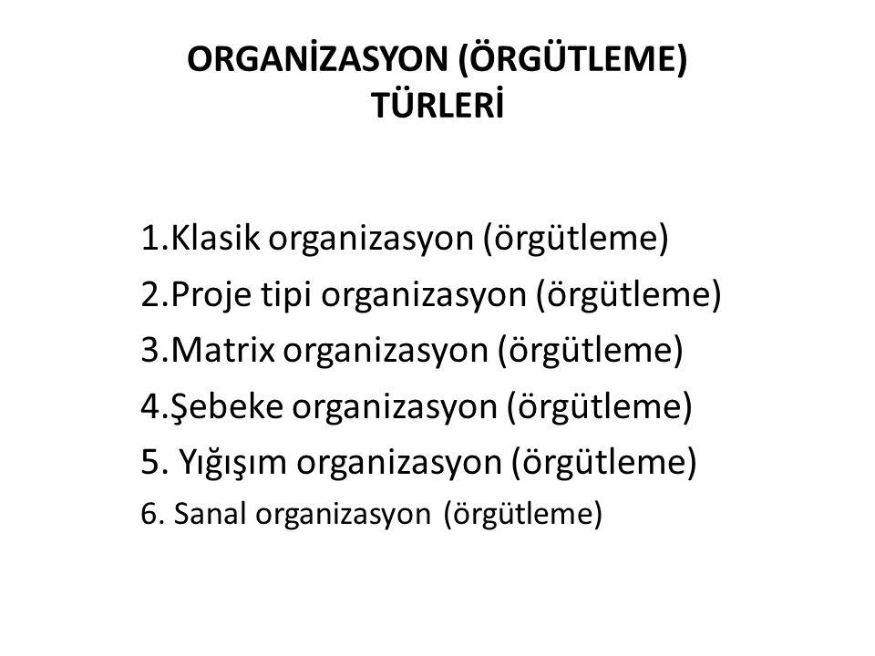 ORGANİZASYON (ÖRGÜTLEME) TÜRLERİ