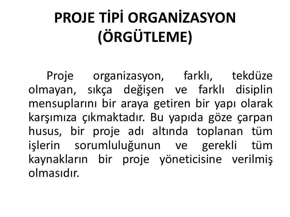 PROJE TİPİ ORGANİZASYON (ÖRGÜTLEME)