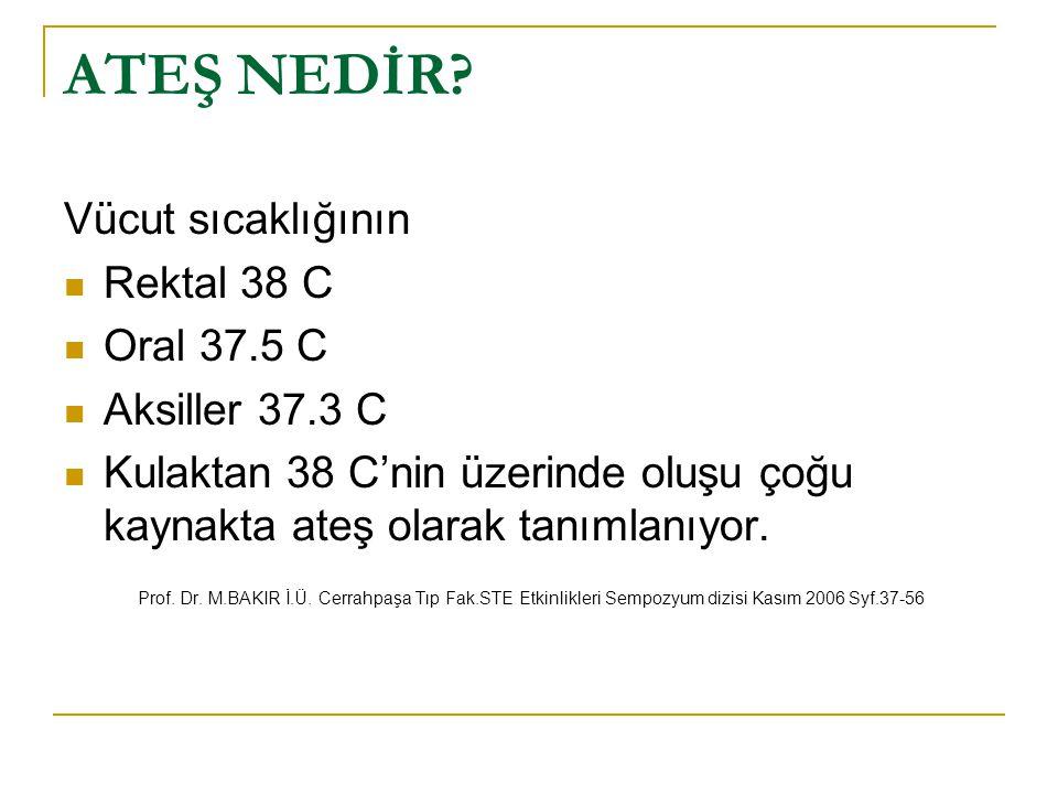 ATEŞ NEDİR Vücut sıcaklığının Rektal 38 C Oral 37.5 C Aksiller 37.3 C