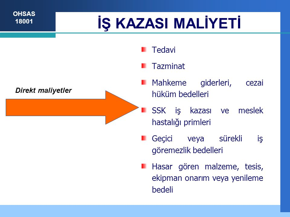 İŞ KAZASI MALİYETİ Tedavi Tazminat