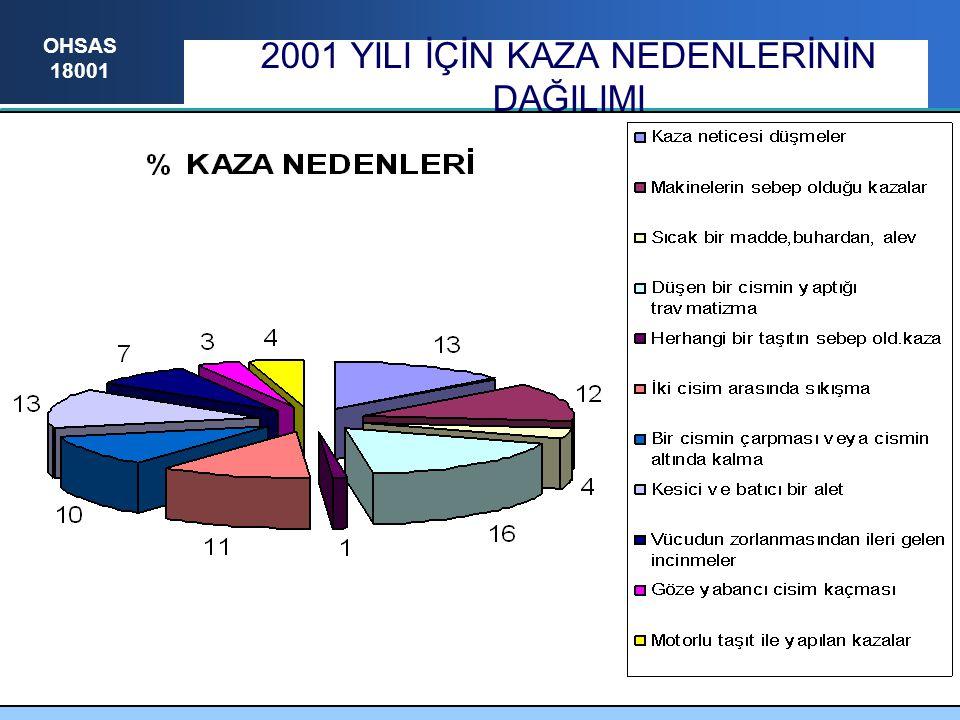 2001 YILI İÇİN KAZA NEDENLERİNİN DAĞILIMI