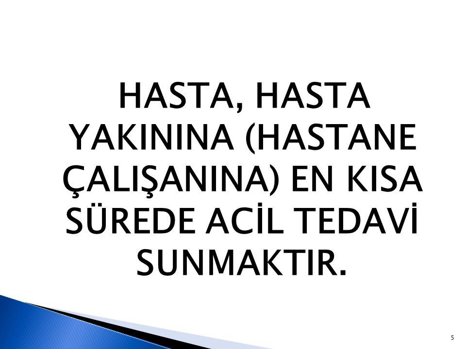 HASTA, HASTA YAKININA (HASTANE ÇALIŞANINA) EN KISA SÜREDE ACİL TEDAVİ SUNMAKTIR.