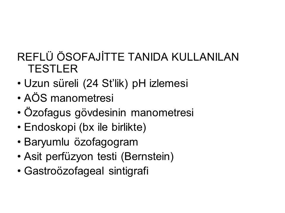 REFLÜ ÖSOFAJİTTE TANIDA KULLANILAN TESTLER