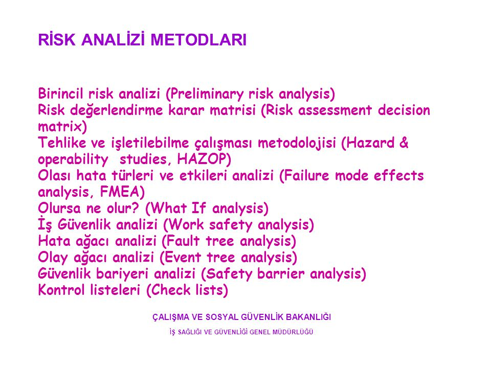 RİSK ANALİZİ METODLARI Birincil risk analizi (Preliminary risk analysis) Risk değerlendirme karar matrisi (Risk assessment decision matrix) Tehlike ve işletilebilme çalışması metodolojisi (Hazard & operability studies, HAZOP) Olası hata türleri ve etkileri analizi (Failure mode effects analysis, FMEA) Olursa ne olur (What If analysis) İş Güvenlik analizi (Work safety analysis) Hata ağacı analizi (Fault tree analysis) Olay ağacı analizi (Event tree analysis) Güvenlik bariyeri analizi (Safety barrier analysis) Kontrol listeleri (Check lists)