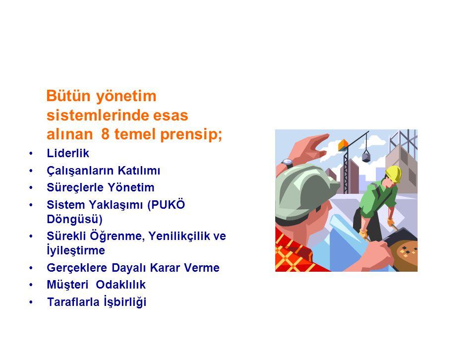Bütün yönetim sistemlerinde esas alınan 8 temel prensip;