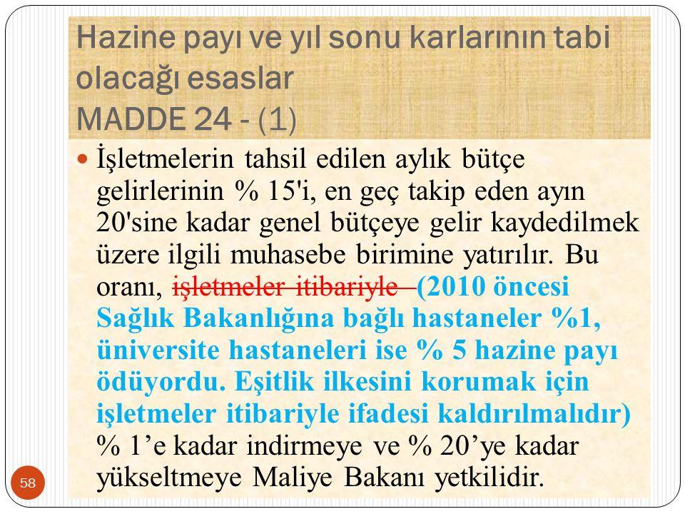 Hazine payı ve yıl sonu karlarının tabi olacağı esaslar MADDE 24 - (1)