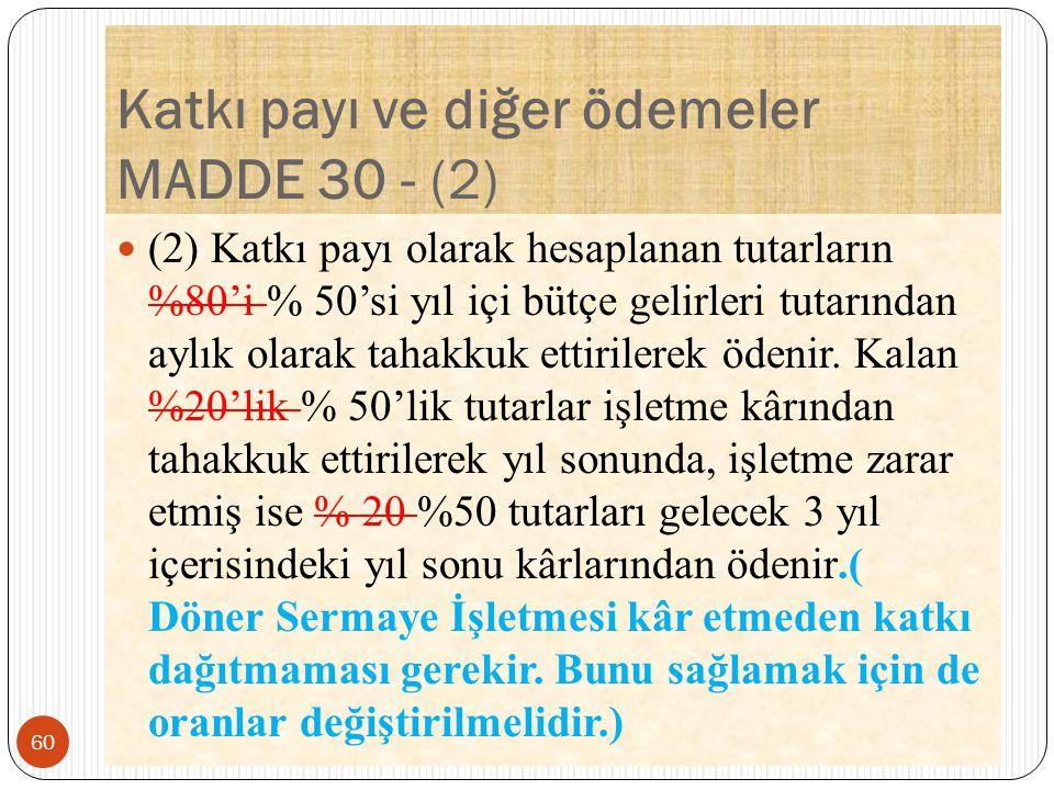 Katkı payı ve diğer ödemeler MADDE 30 - (2)