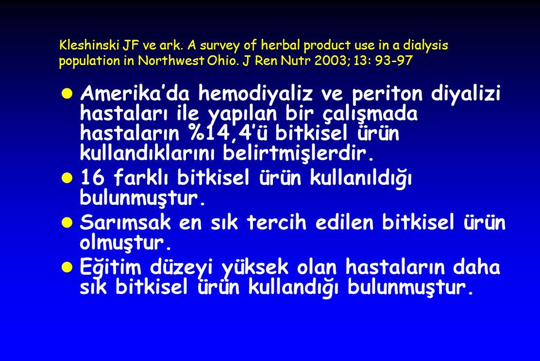 16 farklı bitkisel ürün kullanıldığı bulunmuştur.
