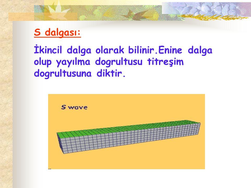 S dalgası: İkincil dalga olarak bilinir.Enine dalga olup yayılma dogrultusu titreşim dogrultusuna diktir.