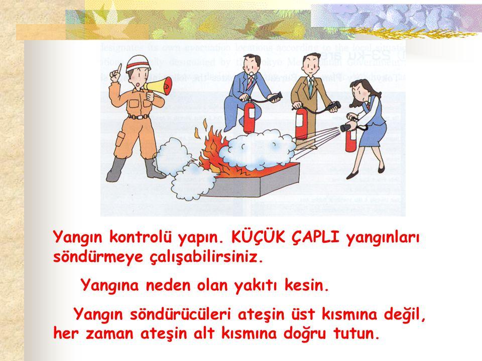 Yangın kontrolü yapın. KÜÇÜK ÇAPLI yangınları söndürmeye çalışabilirsiniz.