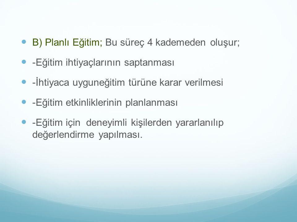 B) Planlı Eğitim; Bu süreç 4 kademeden oluşur;