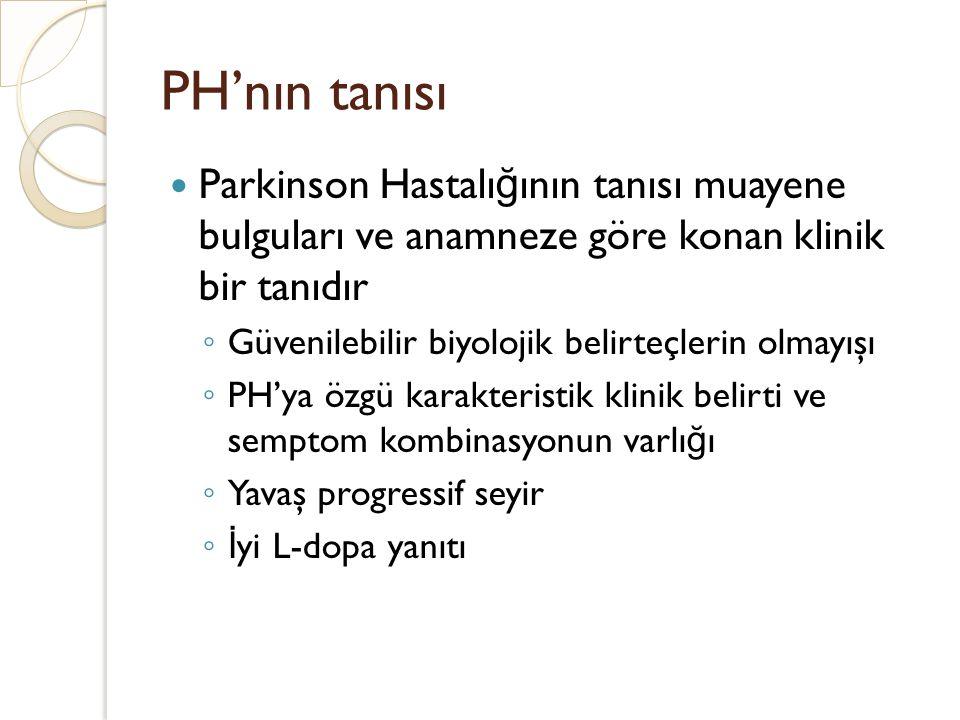 PH'nın tanısı Parkinson Hastalığının tanısı muayene bulguları ve anamneze göre konan klinik bir tanıdır.