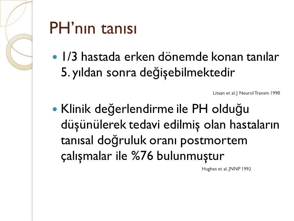 PH'nın tanısı 1/3 hastada erken dönemde konan tanılar 5. yıldan sonra değişebilmektedir. Litvan et al. J Neurol Transm 1998.