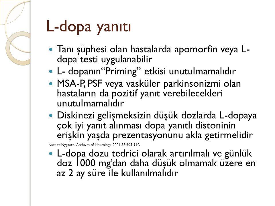L-dopa yanıtı Tanı şüphesi olan hastalarda apomorfin veya L- dopa testi uygulanabilir. L- dopanın Priming etkisi unutulmamalıdır.