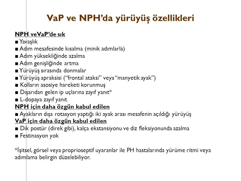 VaP ve NPH'da yürüyüş özellikleri