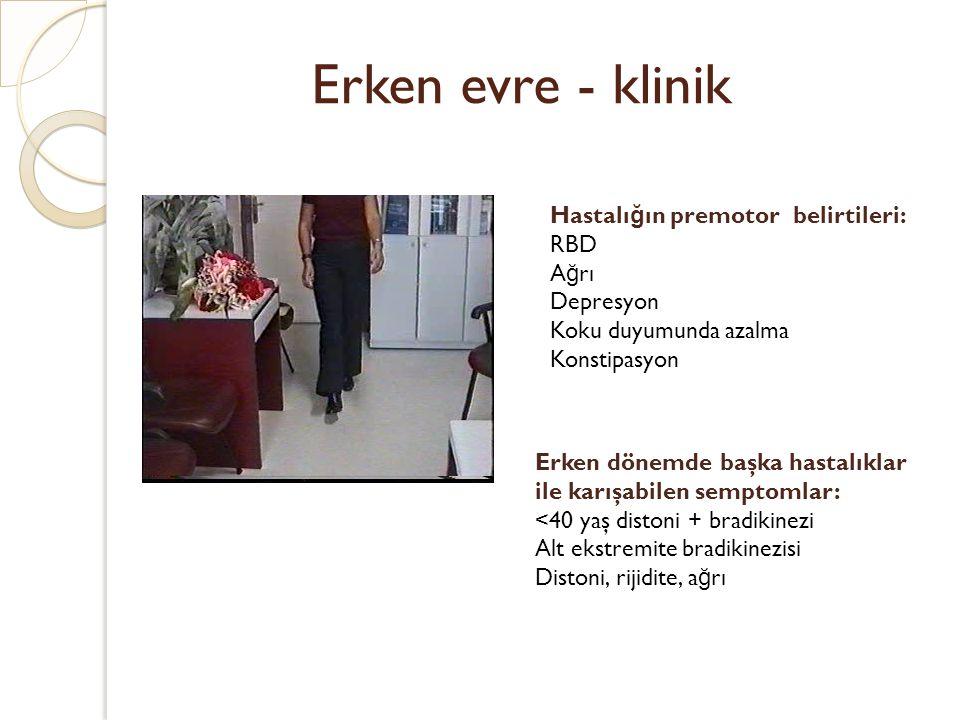 Erken evre - klinik Hastalığın premotor belirtileri: RBD Ağrı