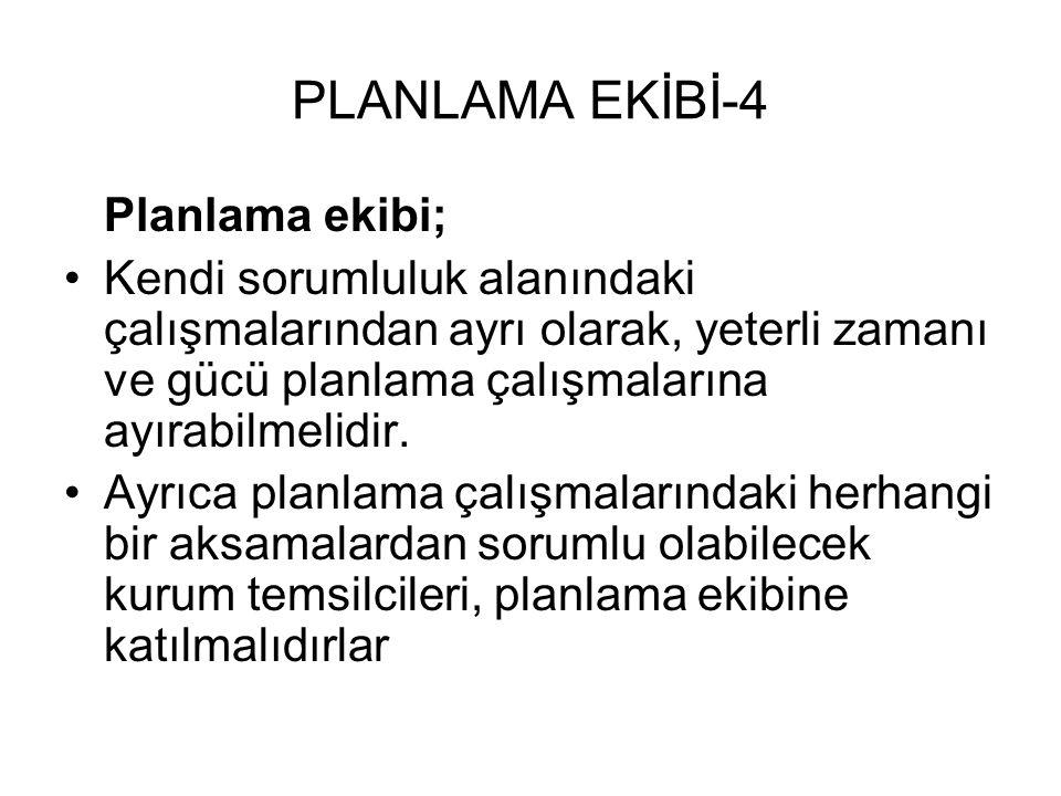 PLANLAMA EKİBİ-4 Planlama ekibi;