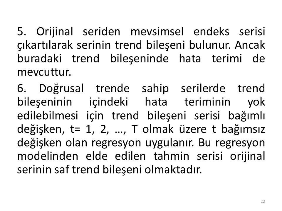 5. Orijinal seriden mevsimsel endeks serisi çıkartılarak serinin trend bileşeni bulunur.