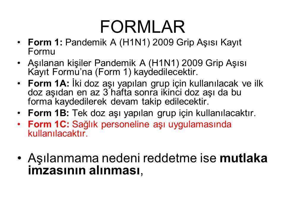 FORMLAR Aşılanmama nedeni reddetme ise mutlaka imzasının alınması,