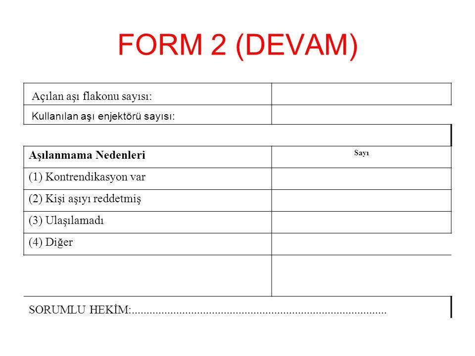 FORM 2 (DEVAM) Aşılanmama Nedenleri (1) Kontrendikasyon var