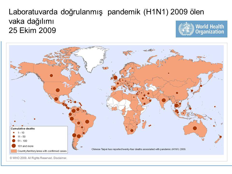 Laboratuvarda doğrulanmış pandemik (H1N1) 2009 ölen vaka dağılımı