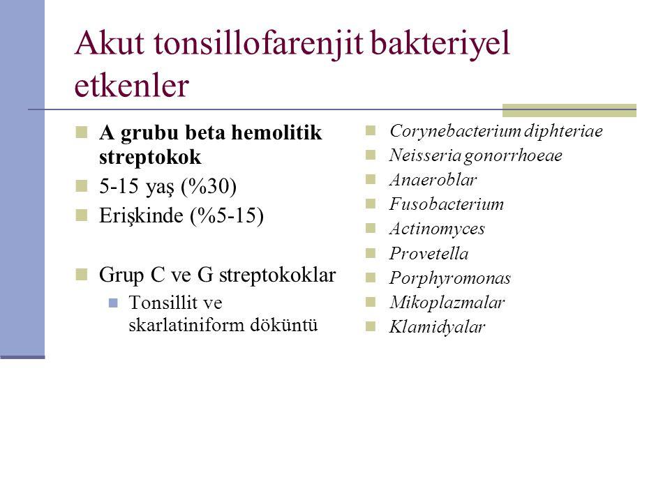 Akut tonsillofarenjit bakteriyel etkenler