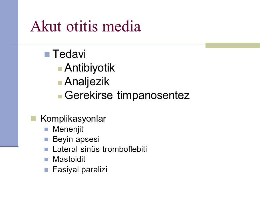 Akut otitis media Tedavi Antibiyotik Analjezik Gerekirse timpanosentez