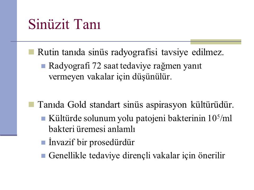 Sinüzit Tanı Rutin tanıda sinüs radyografisi tavsiye edilmez.
