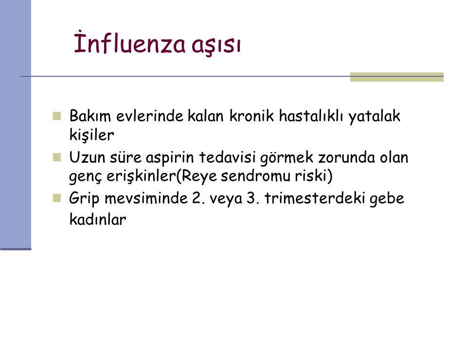 İnfluenza aşısı Bakım evlerinde kalan kronik hastalıklı yatalak kişiler.