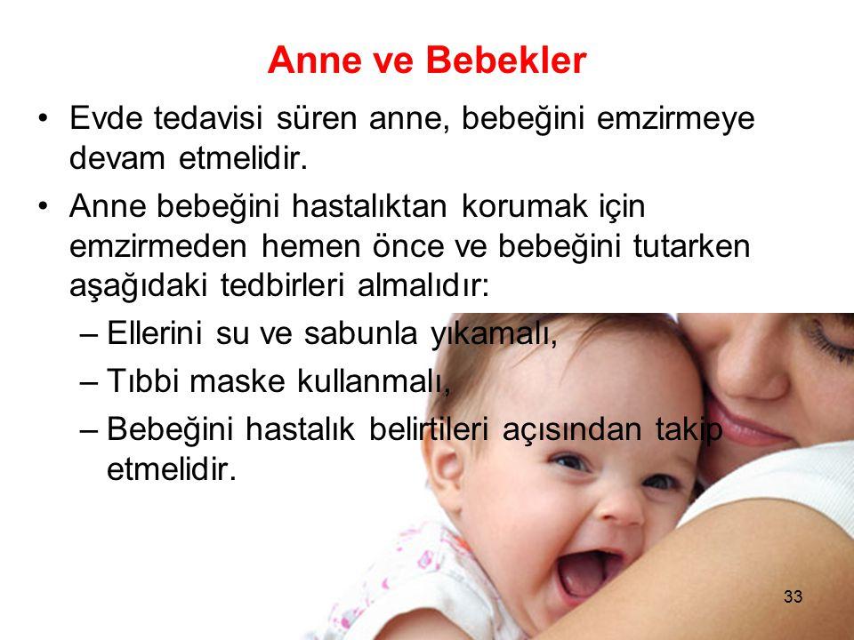 Anne ve Bebekler Evde tedavisi süren anne, bebeğini emzirmeye devam etmelidir.