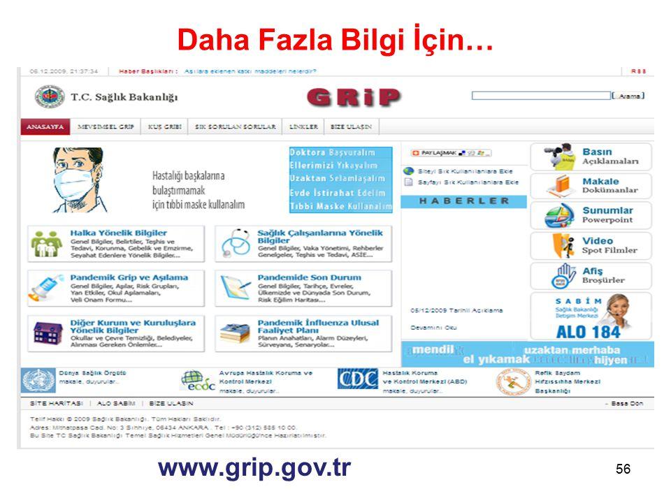 Daha Fazla Bilgi İçin… www.grip.gov.tr