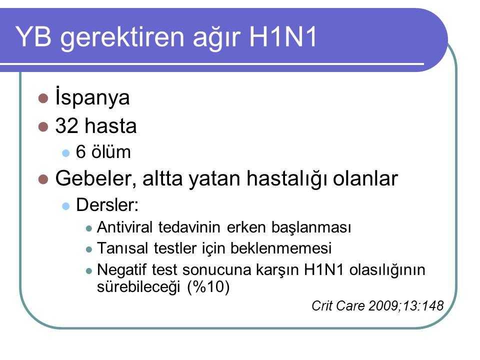 YB gerektiren ağır H1N1 İspanya 32 hasta