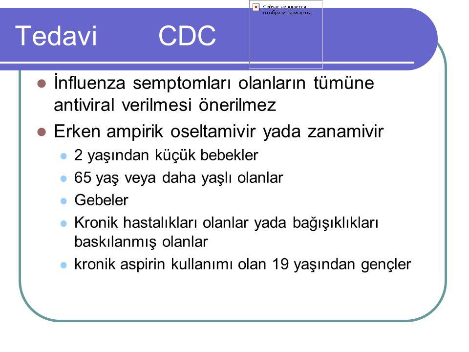 Tedavi CDC İnfluenza semptomları olanların tümüne antiviral verilmesi önerilmez. Erken ampirik oseltamivir yada zanamivir.