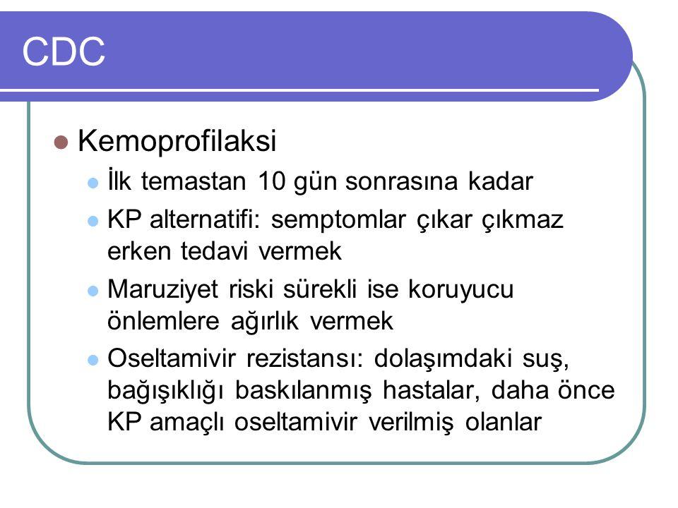 CDC Kemoprofilaksi İlk temastan 10 gün sonrasına kadar