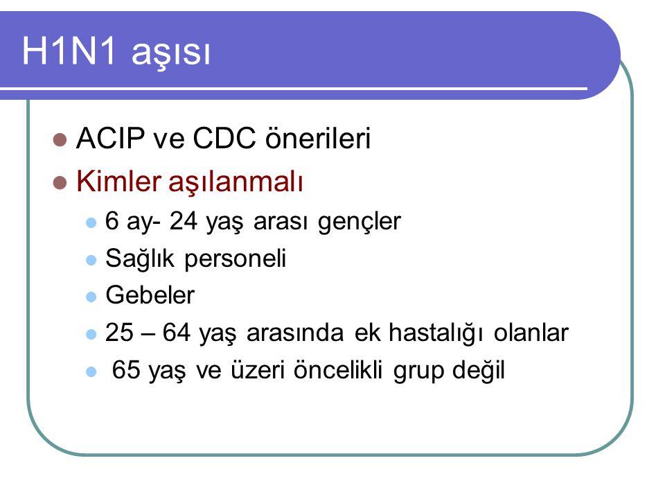 H1N1 aşısı ACIP ve CDC önerileri Kimler aşılanmalı