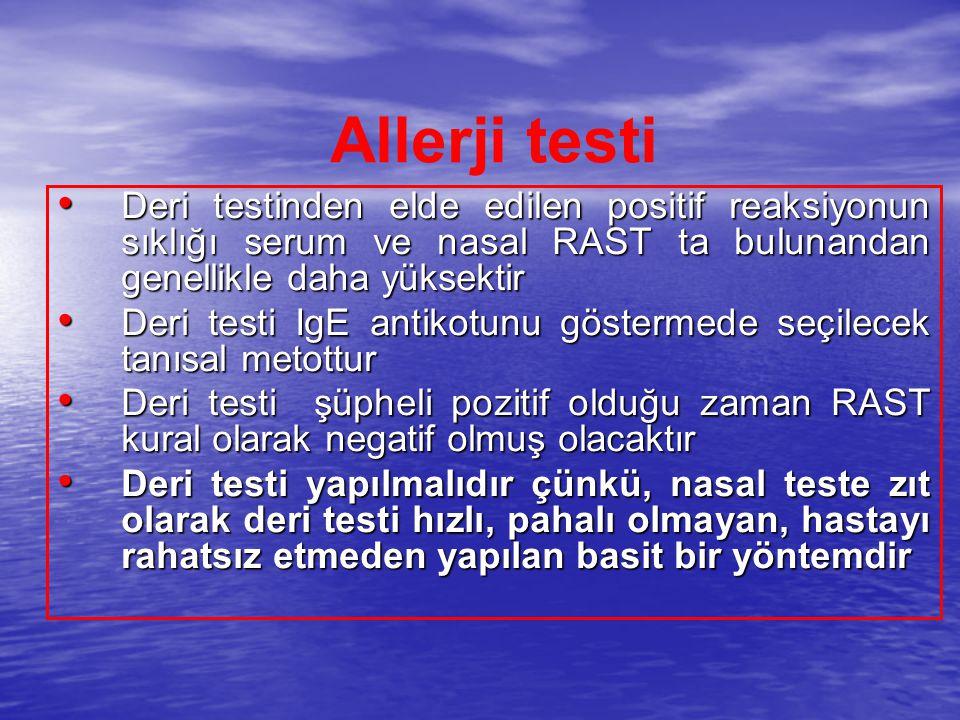 Allerji testi Deri testinden elde edilen positif reaksiyonun sıklığı serum ve nasal RAST ta bulunandan genellikle daha yüksektir.