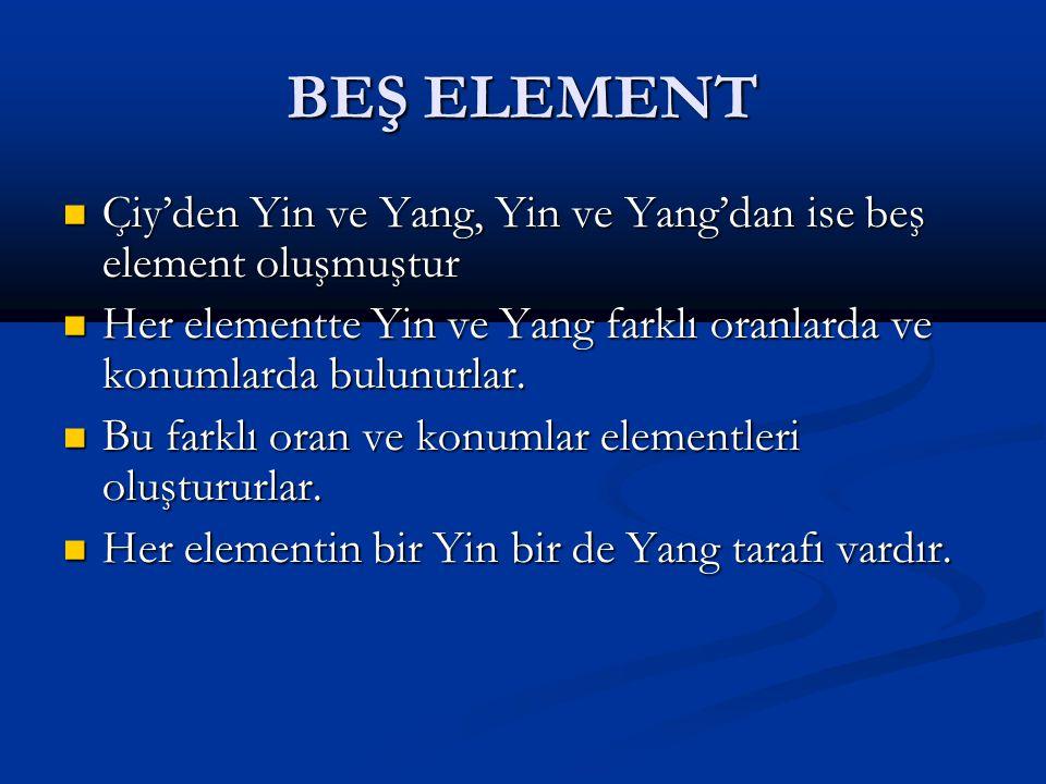 BEŞ ELEMENT Çiy'den Yin ve Yang, Yin ve Yang'dan ise beş element oluşmuştur. Her elementte Yin ve Yang farklı oranlarda ve konumlarda bulunurlar.