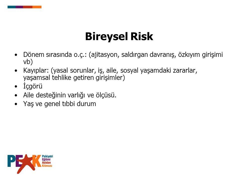 Bireysel Risk Dönem sırasında o.ç.: (ajitasyon, saldırgan davranış, özkıyım girişimi vb)