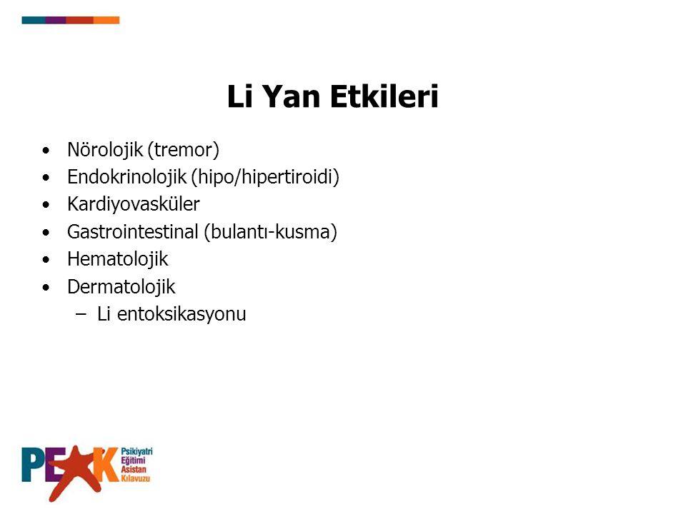 Li Yan Etkileri Nörolojik (tremor) Endokrinolojik (hipo/hipertiroidi)