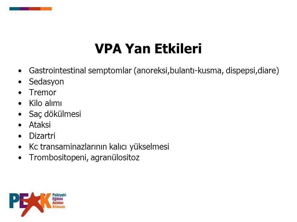 VPA Yan Etkileri Gastrointestinal semptomlar (anoreksi,bulantı-kusma, dispepsi,diare) Sedasyon. Tremor.