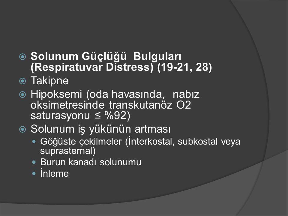 Solunum Güçlüğü Bulguları (Respiratuvar Distress) (19-21, 28) Takipne